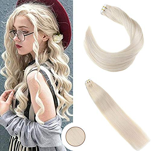 Ugeat 20inch Tape in Human Hair Extensions Remy Hair #60 White Blonde Double Weft Seamless Glue in Hair Extensions 50Gram Per Package Tape Hair Extensions ()