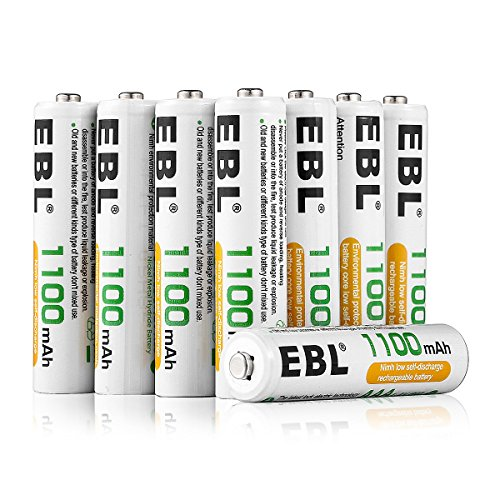 EBL AAA 1100mAh Ni-MH Rechargeable Batteries, 8 Pack AAA Batteries with...