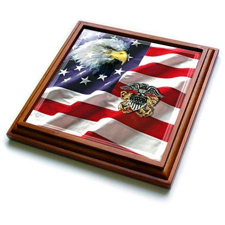 3dRose trv_769_1 Us Navy Officer Crest Trivet with Ceramic Tile, 8 by 8
