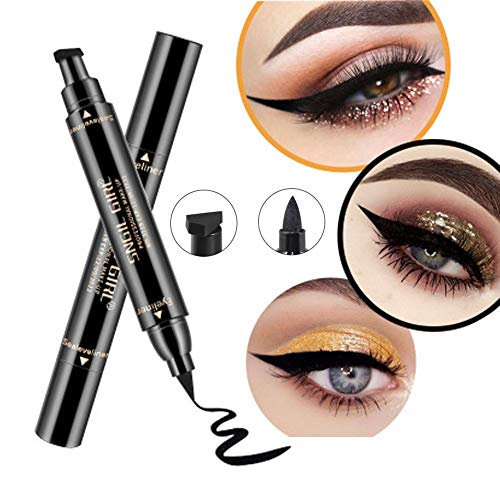Wing Dual (Winged Eyeliner Stamp - Wing Long Lasting Liquid Eye liner Pen,Waterproof, Smudgeproof and Sweatproof,2 Pack Dual Ended Pencil(Thick&Thin))