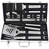 POLIGO 20pcs BBQ Grill Tool Set with Beautifully Pattern Engraved Handle Stainless Steel BBQ Accessories in Aluminum case Complete Outdoor Barbecue Grilling Utensils Kit - Birthday Gift for Man Woman
