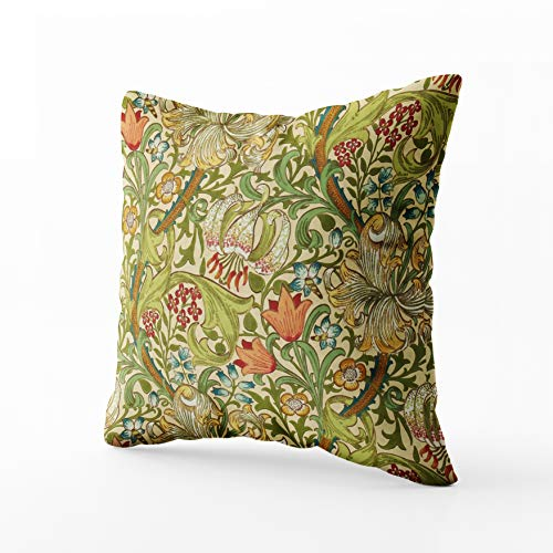(Musesh william morris golden lily vintage pre raphaelite Cushions Case Throw Pillow Cover For Sofa Home Decorative Pillowslip Gift Ideas Household Pillowcase Zippered Pillow Covers 18x18Inch)