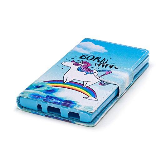 Sony Xperia XA2 Hülle Leder, Lomogo Schutzhülle Brieftasche mit Kartenfach Klappbar Magnetverschluss Stoßfest Kratzfest Handyhülle Case für Sony Xperia XA2 - LOHEX25504 #11 #10