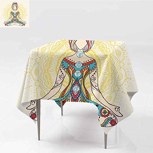 (Jbgzzm Chakra Decor Restaurant Tablecloth Ornate Female on Lotus Pose with Spots Points on The Body Sacred Pulses Print Art Soft and Smooth Surface W36 xL36 Multi)