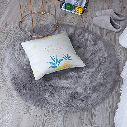 bedee Faux Sheepskin Rug, Faux Fur Rug, Faux Fleece Chair Cover Seat Pad Soft Fluffy Shaggy Area Rugs For Bedroom Living Room Kids Room (Grey, 120x120cm)