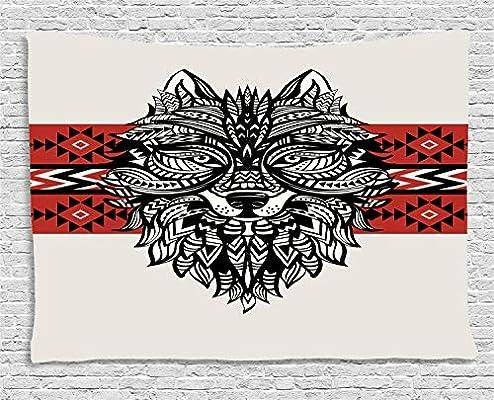 ABAKUHAUS Lobo Tapiz de Pared, Cara del Estilo del Tatuaje Animal ...