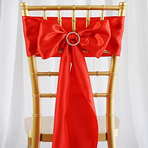 Efavormart 25pcs Red SATIN Chair Sashes Tie Bows for Wedding Events Decor Chair Bow Sash Party Decoration Supplies 6 x ()