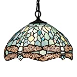 Tiffany Hanging Lamp Crystal Bead Dragonfly 12 Inch Sea Blue Stained Glass Shade for Dinner Room Pendant Ceiling Fixture