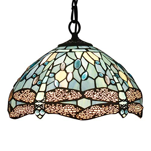 Tiffany Hanging Lamp 12 inch Stained Glass Pendant Lighting Crystal Bead Dragonfly Style Tiffany Chandelier Lights for Dinner Room Bedroom Living Room as Pendant Ceiling Fixture ()