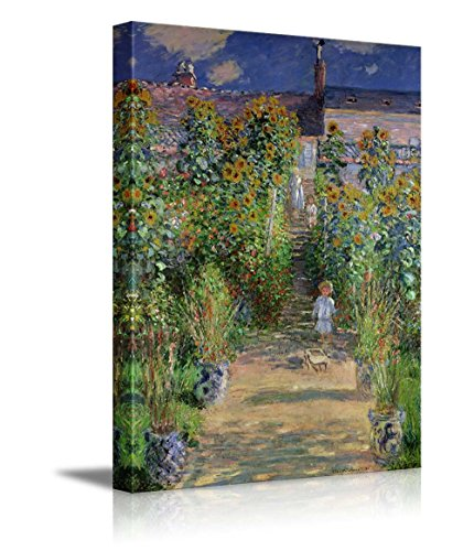 (wall26 - The Artist's Garden at Vetheuil by Claude Monet - Impressionist Modern Art - Canvas Art Home Decor - 24x36 inches)
