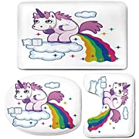 3 Piece Bath Mat Rug Set,Funny,Bathroom Non-Slip Floor Mat,Unicorn-Pooping-Rainbow-over-Clouds-Creative-Kids-Girls-Fairy-Tale-Fantasy-Cartoon,Pedestal Rug + Lid Toilet Cover + Bath Mat,Multicolor