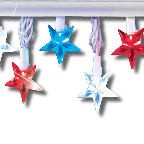 Collections Etc Americana Star String Lights