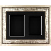 """Silver Pewter Grey finish Frame Shadow Box 3D Medal Keepsake Baby Casts 1st Shoes Flowers 6x4"""" & 6.5x4.5"""" Displays / Black Mount and backing - by BabyRice"""