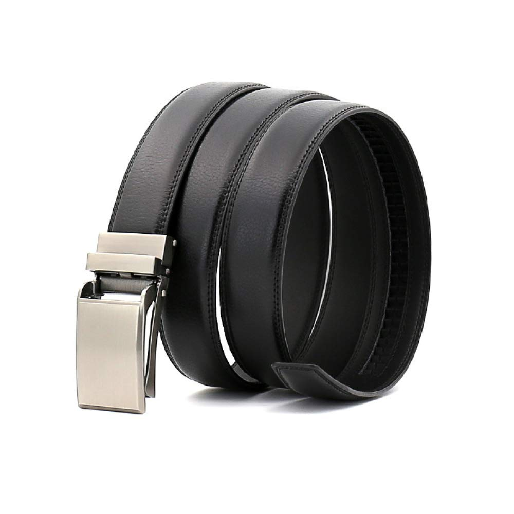 DENGDAI Leather Belt Mens Belt Automatic Buckle Belt Length 110-130cm