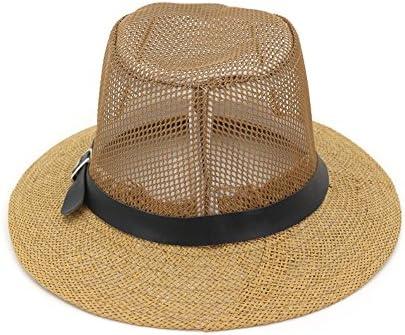 a4d8ed12a1193 Amazon.com   Gaojuan Unisex Straw Jazz Hat Summer Beach Sun Visor Cap Mesh  Hollow Breathable Ms. Male Lovers Cap Outdoor Travel Hollow Straw Straw Hat  ...