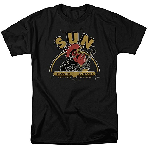 Sun Records - Rockin Rooster On Black - Adult T-Shirt - Large (Rooster Sun)