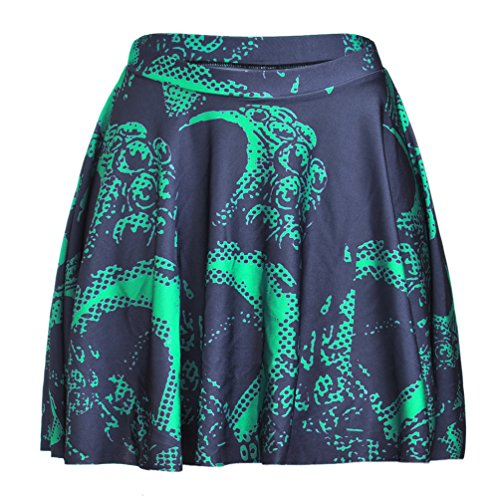 Happy Cool Women's Pattern Printed Digital Casual Flared Skater Bust Skirt Green Dragons ()