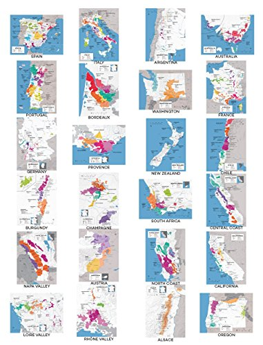 Wine Folly Complete Wine Map Poster Print Set of 24 Major Wine Producing Countries/Regions, 12'' x 16'' by Wine Folly