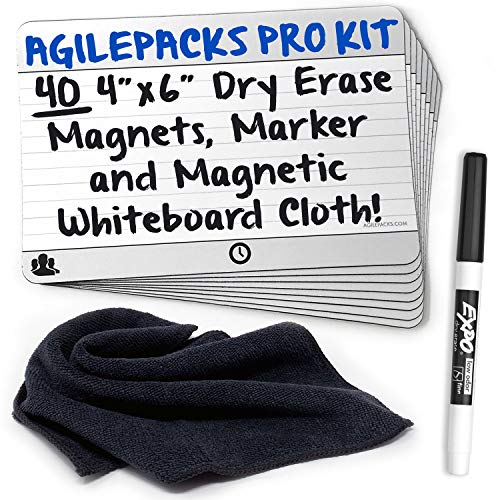 Dry-Erase Planning Card Magnets by AgilePacks for Agile Planning Boards, Scrum, Kanban, Meetings, Productivity | AgilePacks Pro Kit - 40 4x6 Magnetic Planning Cards, Magnetic Cleaning Cloth and Marker