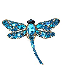 Ever Faith Dragonfly Teardrop Pendant Brooch Austrian Crystal