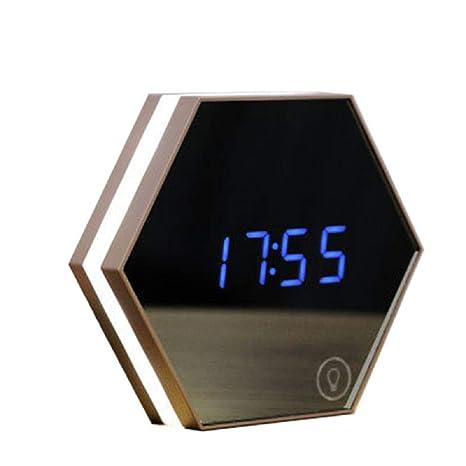 ZYWTZ® Reloj Despertador Espejo Reloj De Sobremesa con Luces Led Sala De Estar Dormitorio Dormitorio