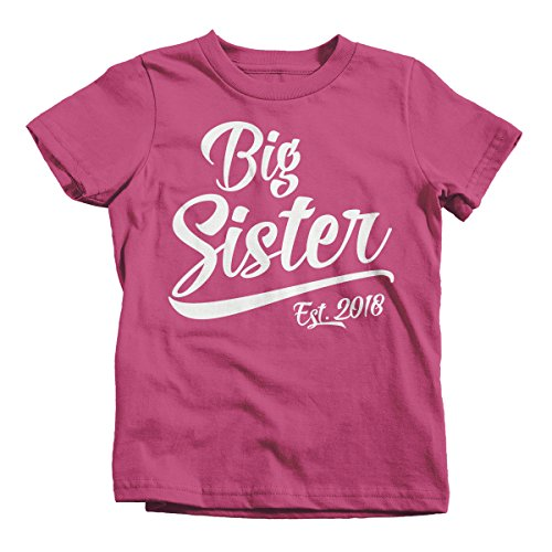 Big Sister Toddler Shirt (Shirts By Sarah Little Girl's Big Sister Est. 2018 T-Shirt Sibling Matching Toddler Tee (3T Pink))