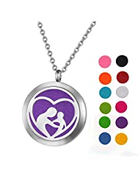 """""""mom"""" Heart Aromatherapy Essential Oil Diffuser Necklace Stainless Steel Pendant Locket with 24"""" Chain + 12 Oil Refill Pads"""