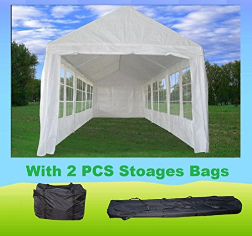 30'x10′ PE Tent White (PE3010) – Wedding Party Tent Canopy Carport – with Storage Bags – By DELTA Canopies