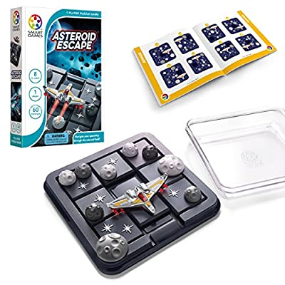 SmartGames Asteroid Escape, a Sliding Puzzle Travel Game for Kids and Adults, a Cosmic Cognitive Skill-Building Brain Game - Brain Teaser for Ages 8 & Up, 60 Challenges in Travel-Friendly Case.: Toys & Games