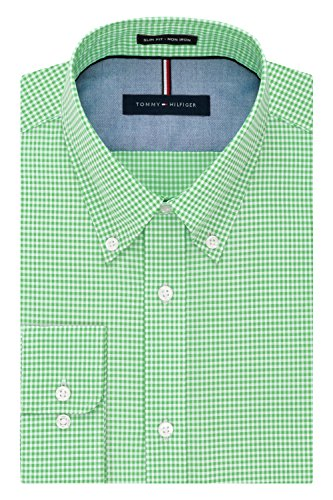 Tommy Hilfiger Men's Non Iron Slim Fit Gingham Buttondown Collar Dress Shirt, Sea Grass, 16.5
