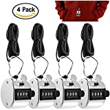 4 Digit Hand Tally Counters with Lanyards, AFUNTA 4 Pack Mechanical Lap Trackers Manual Clickers with Metal Finger Ring Hoop Holder and Black Strings - Silver