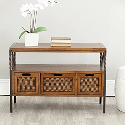 Safavieh American Homes Collection Joshua Antique Dark Walnut and Pewter 3-Drawer Console Table - The antiqued pewter finish complements the dark walnut finish on the wooden elements of this console table Features a middle shelf and three pull out drawers Crafted of solid pine wood - living-room-furniture, living-room, console-tables - 51a6b0MOG5L. SS400  -