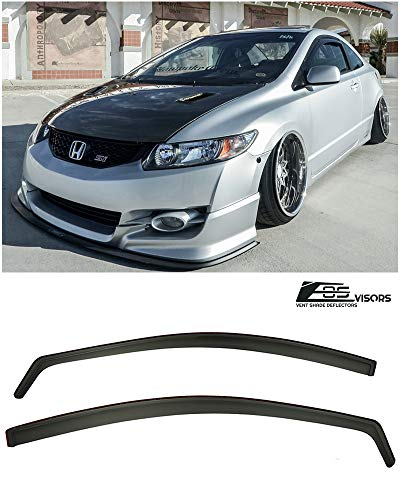 Extreme Online Store Repalcement for 2006-2011 Honda Civic Coupe Models | EOS Visors JDM in-Channel Style Smoke Tinted Side Vents Window Deflectors Rain -