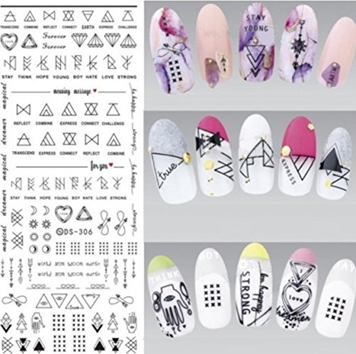 1 Sheets Harajuku Element Line Figures Nail Art Sticker Water Transfer Nails Wrap Paint Tattoos Stamp Plates Templates Tools Tips Kits First Class Popular Xmas Stick Tool Vinyls Decals Kit, Type-02 -