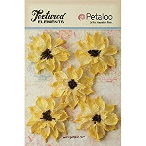 PETALOO Textured Elements Burlap Wild Sunflowers, 2.5-Inch, Yellow, 5-Pack 68