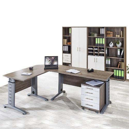 Büromöbel Set »SERIE 1200« Trüffel Eiche - weiß glänzend günstig kaufen