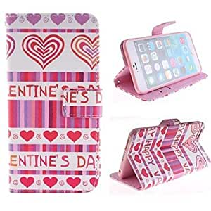 WQQ Peach Color Heart and The Design of English Letters PU Leather Case with Card Slot and Stand for iPhone 6