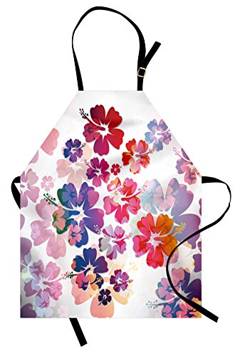 Lunarable Hawaiian Apron, Exotic Floral Island Theme Tropical Hawaii Flowers Pattern Print, Unisex Kitchen Bib Apron with Adjustable Neck for Cooking Baking Gardening, Pink Orange ()