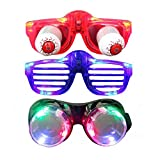 Light Up Glasses, Aomeiqi Pack of 3 LED Glasses for Easter Day April Fool's Day Rave Costumes Father's & Mother's Day Birthday Party To, LED Goggles + Flashing Shutter Glasses + Slinky Eyeball Glasses