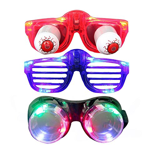Light Up Glasses, Aomeiqi Pack of 3 LED Glasses for Easter Day April Fool's Day Rave Costumes Father's & Mother's Day Birthday Party To, LED Goggles + Flashing Shutter Glasses (Flashing Eyes Halloween Costume)
