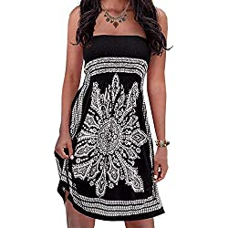 Inital Womens Strapleess Floral print Bohemian Beach Dress Cover-up Dress, Large, Black