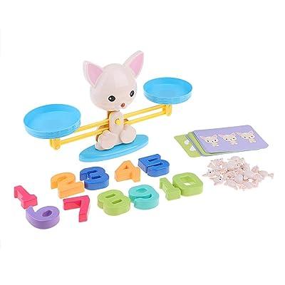 P Prettyia Juego de Mesa de Números de Equilibrio Matemático Mono / Cerdo / Perro Figura Juguetes de Aprendizaje de Animales - Perro: Juguetes y juegos