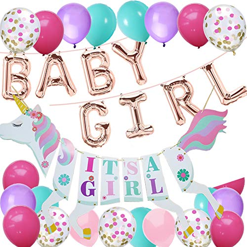 Baby Shower Party Decoration-Rose Gold Baby Girl Foil Balloons With Unicorn Its a Girl Banner,For Girl Birthday Baby Shower Party Supplies