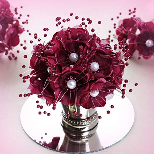 Inna-Wholesale Art Crafts New 72 pcs Burgundy Faux Pearl Decorating Flowers Party Favors Supplies Decorations - Perfect for Any Wedding, Special Occasion or Home Office D?cor ()