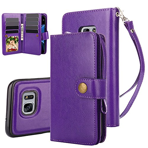 Galaxy S7 Case, TabPow 10 Card Slot - [ID Slot][Button] Wallet Folio PU Leather Case Cover With Detachable Magnetic Hard Case For Samsung Galaxy S7 - (Purple)