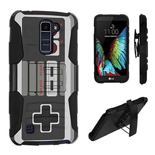 LG K10 Case / LG Premier LTE Case, DuroCase Hybrid Dual Layer Combat Armor Style Kickstand Case w/ Holster for LG K10 / LG Premier LTE (Released in 2016) - (Game Controller)