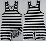 FidgetFidget Swimwear Mens Stripes Wrestling Singlet Gym Aerotics Outfit Weight Lifting M
