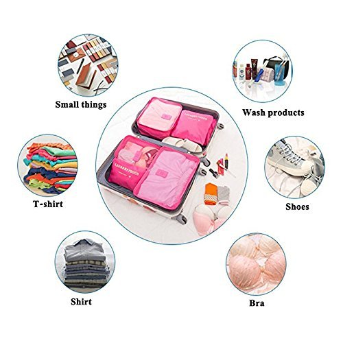 Packing Cubes (2 Sets /12 Pieces) Luggage Organizers/Laundry Bags JuneBugz Travel Accessory for Suitcases,Carry-on,BackPacks-Organize Toiletries/Clothing/Medicine/Shoes/Passport/Document(Navy/Navy) by JuneBugz Enterprises (Image #6)