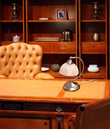 Elegant Designs LT2029-BSN Mini Modern Banker s Desk Touch Control Base Table Lamp, Brushed Nickel