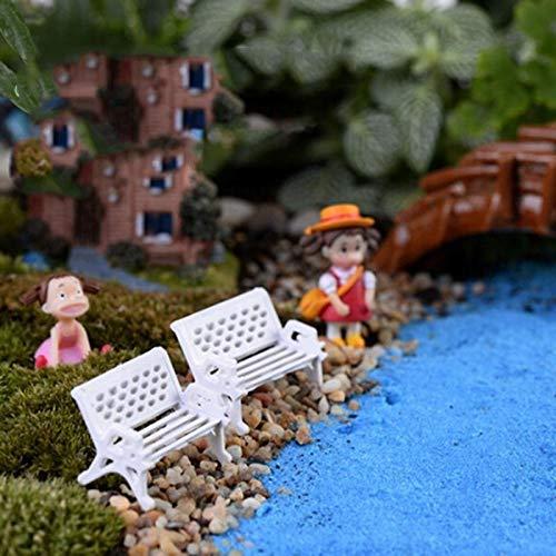 Figurines & Miniatures - 2 Pc White Park Bench Seat Micro Landscape Ecology Perfect Garden Fairy World - Miniature Accessories Figurines Miniatures Motherboard Open Frame White Bench Furnitu